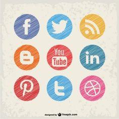 ソーシャルメディアのベクトルボタンが設定され