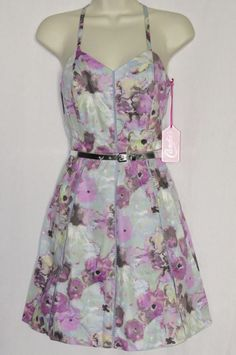 """Womens 0 Dress NEW NWT Floral with Belt CANDIES Lily Purple Sundress Juniors XS #Candies BRAND NEW dress by CANDIE'S, size 0. It is a fully lined """"watercolor lily purple"""" and grey floral print dress with a matching and removable silver belt and a side zipper closure"""