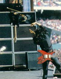 Joe Perry throwing his guitar...