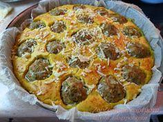 Ζουζουνομαγειρέματα: Πίτα με κεφτεδάκια! Savoury Baking, Vegetable Pizza, Quiche, Great Recipes, Hamburger, Pie, Vegetables, Breakfast, Desserts