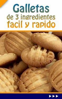 Galletas de 3 ingredientes fácil y rápido Mexican Dishes, Mexican Food Recipes, Sweet Recipes, Luau Cookies, No Bake Cookies, Cookie Desserts, Cookie Recipes, Dessert Recipes, Sugar Cookie Recipe With Royal Icing