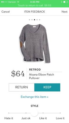 I want this Retrod Moana Elbow Patch Pullover sweater. Faux brown leather elbow patches on a grey v-neck sweater. Try Stitch Fix to update your wardrobe with your own personal stylist. Use my link to get started! http://stitchfix.com/referral/7578631