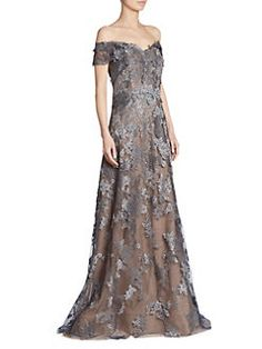 RENE RUIZ - Floral Off-the-Shoulder Lace Gown