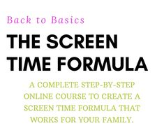 Find your Family's Screen Time Formula! A complete step-by-step online course to create a screen time formula that works for your family. Cyber Safety For Kids, Internet Safety Tips, Screen Time For Kids, Parental Control, Back To Basics, Your Family, Online Courses, It Works, Finding Yourself
