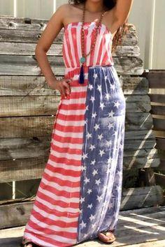 Noble Strapless American Flag Pattern Long Dress For Women