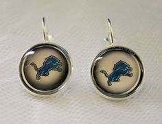 Detroit Lions Earrings made from Football Trading Cards #DetroitLions