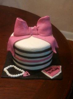 Happy birthday Tiffany!! Striped pink and black cake!!