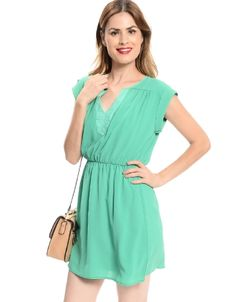 Shop ModDeals.com for Green Textured Cuffed Sleeve Dress  in our cheap trendy Dresses category. Find trendy cheap clothing for women, discount shoes, jewelry sales, perfume & cheap accessories for wom
