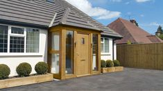 Oak porches - traditionally design & manufactured in the UK. Bungalow Porch, Bungalow Haus Design, Cottage Porch, Bungalow Exterior, Bungalow Renovation, Bungalow Ideas, Porch Designs Uk, Porch Roof Design, Trendy Tree