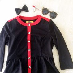 Military Peplum Top / Jacket Black military style peplum jacket with red piping. Silver buttons with fleur de lis. Super soft fabric. Can be worn as a top or jacket! Perfect condition, worn once. Forever 21 Jackets & Coats Blazers