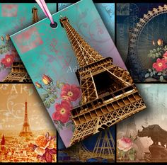 Eiffel Tower ATC ACEO or Jewelry Holders 2.5 X 3.5 inch - Adidit digital collage sheet 038
