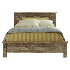 Add a vintage-inspired touch to your guest room or master suite with this lovely bed, showcasing a reclaimed teak wood frame and distressed finish.