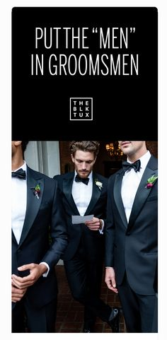 Your dress has met its match. Our suits and tuxedos are made with 100% Italian merino wool and a modern fit. Rentals start at just $95, with free shipping both ways. Ordered online, delivered to your door. Find the perfect suits or tuxedos for your wedding party with The Black Tux.
