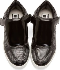 Giuliano Fujiwara Black & Silver Metallic Mesh Sneakers