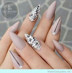 Nude stiletto nails with rihinestones, so soooo pretty!