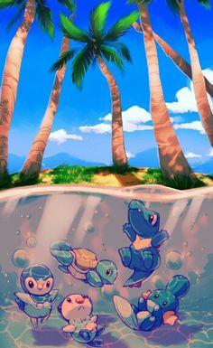 Water Pokemon, beach, Piplup, Oshawott, Squirtle, Mudkip, Totodile, swimming; Pokemon