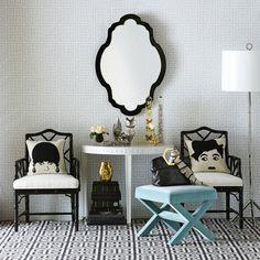 Glam room setting by Johnathan Adler...