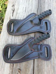 Nice leather work for knife sheath worn scout style.