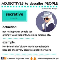 Adjectives to describe people: secretive