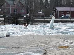 Ice breaking in the Spring, Finland. Voitby islossning Korsholm Finland