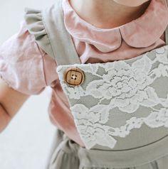 Handmade Linen & Lace Pinafore Dress | TateandAdele on Etsy