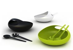 Salad bowl & Servers - Green www.hirschs.co.za
