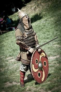 Viking serving in the varangian guard. The helmet, and lamellar mail, were typical for the norsemen, who fought for the byzantian emperors. like the last viking king Haraldur Sigurdson Hardrada.
