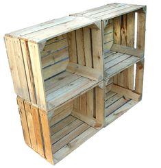 Lot de 4 johanna occasion en bois naturel style vintage/shabby weinkisten  http://www.homelisty.com/ou-trouver-caisses-en-bois-cagettes/