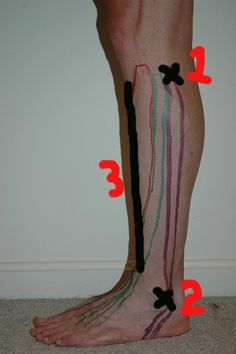 Self-massage on the outer-lower leg. Help prevent/treat shin splints and top of foot pain!
