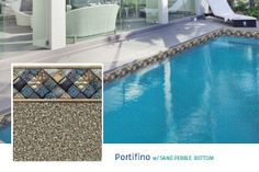 Portifino w/ Sand Pebble Bottom. Beige Base/Available in 20 & 28 mil.  Let the sophisticated tone of the Italian Riviera grace your private retreat with this elegant and timeless pattern.  Sand Pebble Bottom available in 26 mil. textured pattern for pool steps