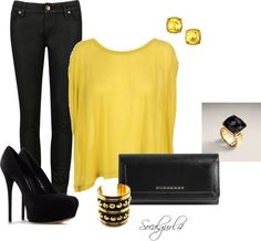 """""""Black & Yellow"""" by socalgurl4 on Polyvore"""