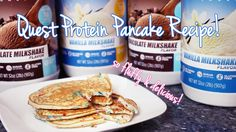 1 scoop Quest Vanilla Milkshake Protein Powder cup oat flour cup almond milk 6 tbsp liquid egg whites or 2 egg whites 1 tbsp vanilla extract 2 packets truvia or other sugar substitute 1 tsp baking powder Protein Muffins, Protein Cookies, Chocolate Protein Pancakes, Protein Powder Pancakes, Banana Protein Pancakes, Protein Cake, Protein Foods, Protein Smoothies, Keto Pancakes