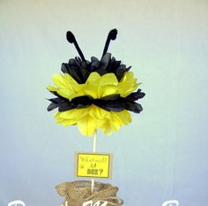 Bumble Bee Tissue Pom pom Centerpiece / What will it BEE? Gender Reveal Decor / Bumble Bee Party Decor