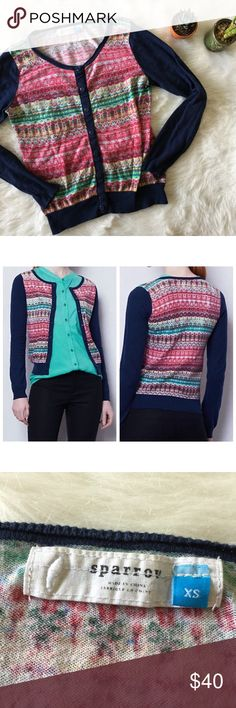 Anthropologie Sparrow Pattern Punch Cardigan This cardigan is in excellent condition! Size XS. Smoke and pet free home. No trades. No flaws like stains or holes. Offers welcome! Bundle and save 20%! Anthropologie Sweaters Cardigans