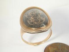 ANTIQUE ENGLISH 15K GOLD MOURNING LOCKET RING c1800    $445.00
