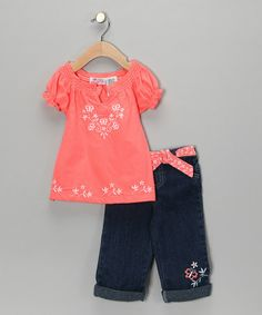 69919616ec0 Young Hearts Orange Butterfly Peasant Top   Jeans - Girls