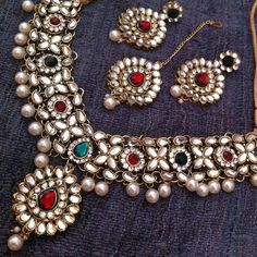 Kundan Work IN Flower Leaves With Dangling Pearls Indian Necklace SET
