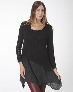 Boho Sweater Knit Layered Tunic/Top: Black or Khaki – Blue Bohemian