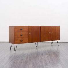 Velvet-Point - storage 1960s teak sideboard with hairpin legs - Karlsruhe