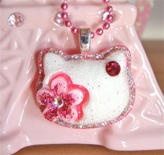 Cute kawaii kitty pendant necklace with a by sparklecityjewelry, $13.00