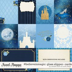 Cinderella Inspired, Digital Scrapbooking: Glass Slipper Cards by Amber Shaw & Studio Flergs Disney Word, Disney Diy, Disney Crafts, Disney Ideas, Project Life Scrapbook, Project Life Album, Disney Scrapbook Pages, Scrapbooking Layouts, Scrapbook Cards