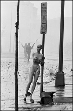 Washington D.C. 1968. Aftermath of the riots the morning after the assassination of Martin Luther King JR., leader of the Civil Rights Movement. By Burt Glinn.