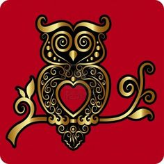 Golden owl ornament vector Stock Photo.... would love to have this as a tatoo!