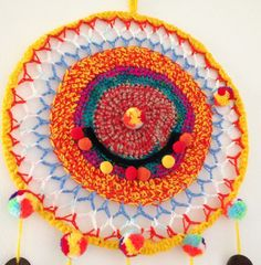 Dreamcatcher Rainbow Dreamcatchers, Crochet Earrings, Rainbow, Hats, Dream Catcher, Hat, Dream Catchers, Rain Bow, Wind Chimes