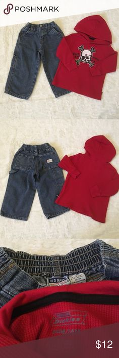 "Bundle of 2 Boy's Sz 18/24 Mos Jean Pants & Shirt 84% Cotton 16% Polyester-Old Navy Sz 18-24 Mos Carpenter Jean Pants-6-pockets-Zip up fly-Snap Button Closure-Elastic Waist #2- 60% Cotton 40% Polyester- Dickies Sz 24 Mos Red Long Sleeve Thermo Hoodie Shirt ""Rock Rebel"" black print and skull pic Old Navy/Dickies Other"