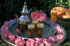 Morocco, Dades valley, El Kelaa M'Gouna, rose festival, tea