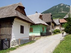 Vlkolinec Painted Log Cabins - Zilina, Slovakia Eastern Europe, Czech Republic, Poland, Slovak Recipes, Earth, Explore, Log Cabins, Architecture, Ancestry