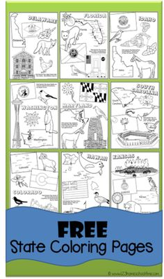 Are You Studying The 50 States Snag These Free State Coloring Pages At 123 Homeschool 4 Me Each State Specific Page Includes A State Map State Flags Sta