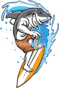 Shark Enjoying Play Surf On The Water Cartoon Sketches, Animal Sketches, Sketch Manga, Graffiti Doodles, Arte Sketchbook, Blue Tattoo, Surf Art, Urban Art, Animal Photography