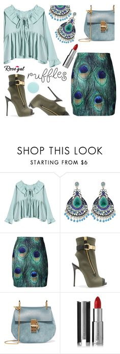 """""""Add Some Flair: Ruffled Tops"""" by samra-bv ❤ liked on Polyvore featuring Giuseppe Zanotti, Chloé, Givenchy, JINsoon, polyvorefashion, rosegal and ruffledtops"""